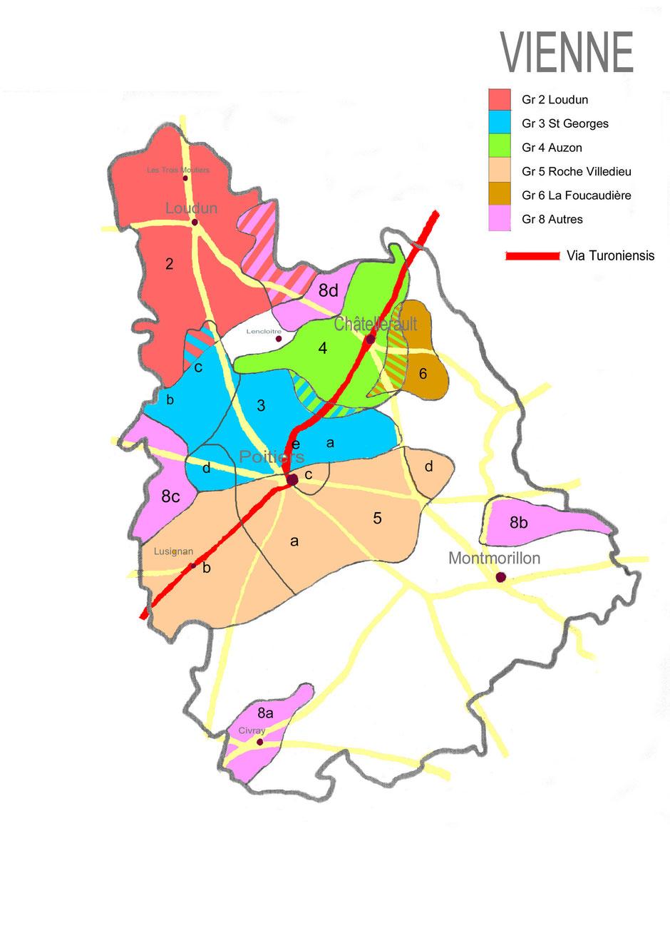 Carte montrant l'étendue des commanderies hospitalières de la Vienne avant 1789