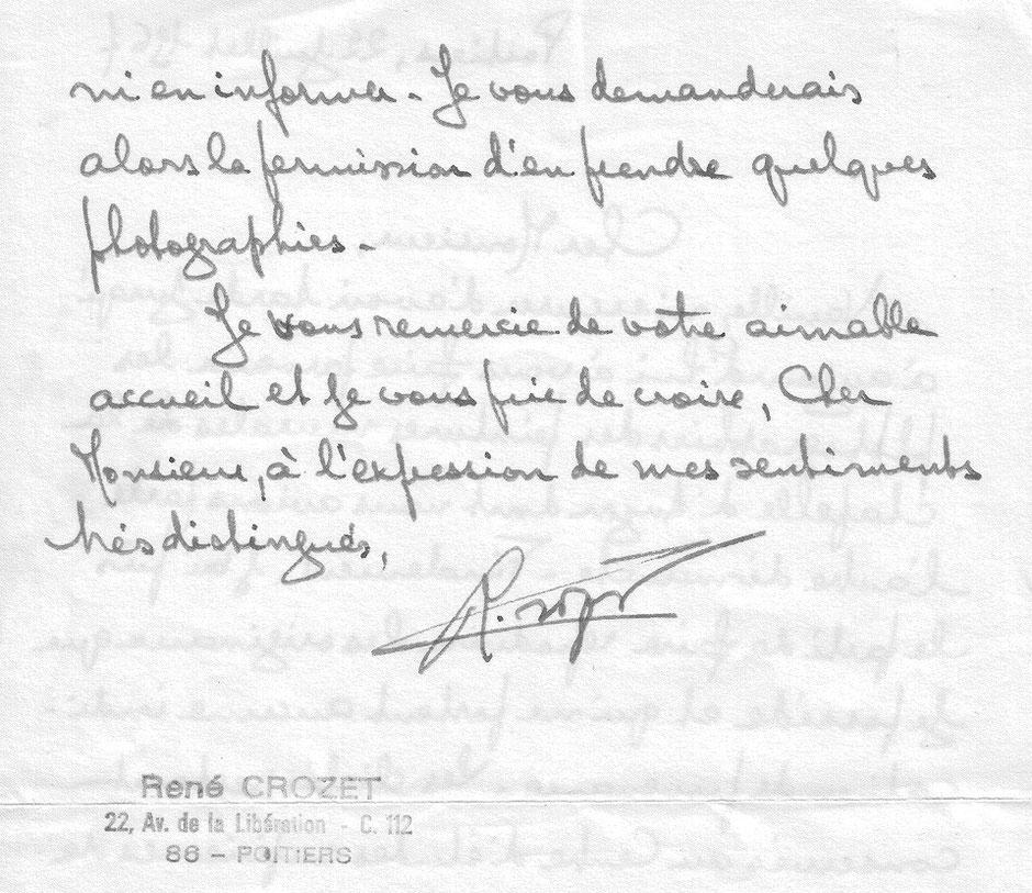 Lettre de Mr René Crozet - 1967 - p.2