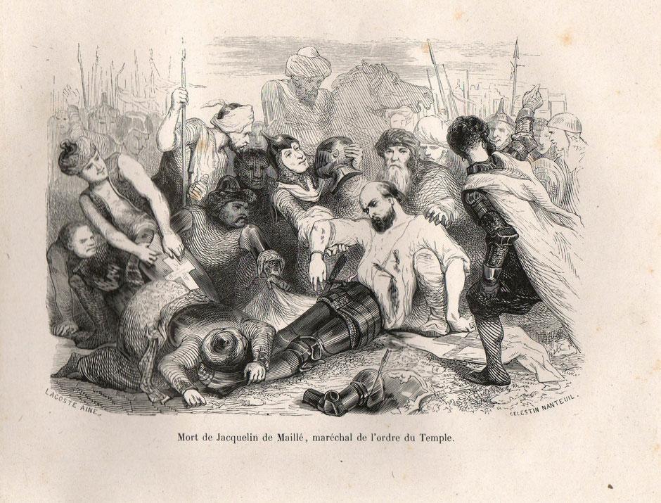 Gravure : Mort de Jacquelin de Maillé, maréchal de l'ordre du Temple