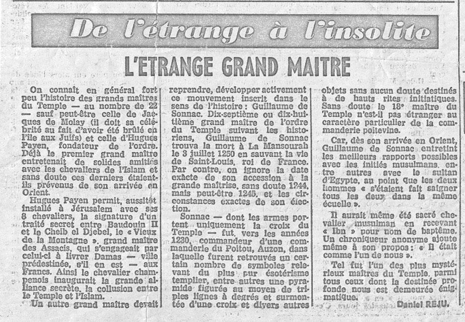 Article paru dans le Parisien Libéré  - L'étrange grand maître