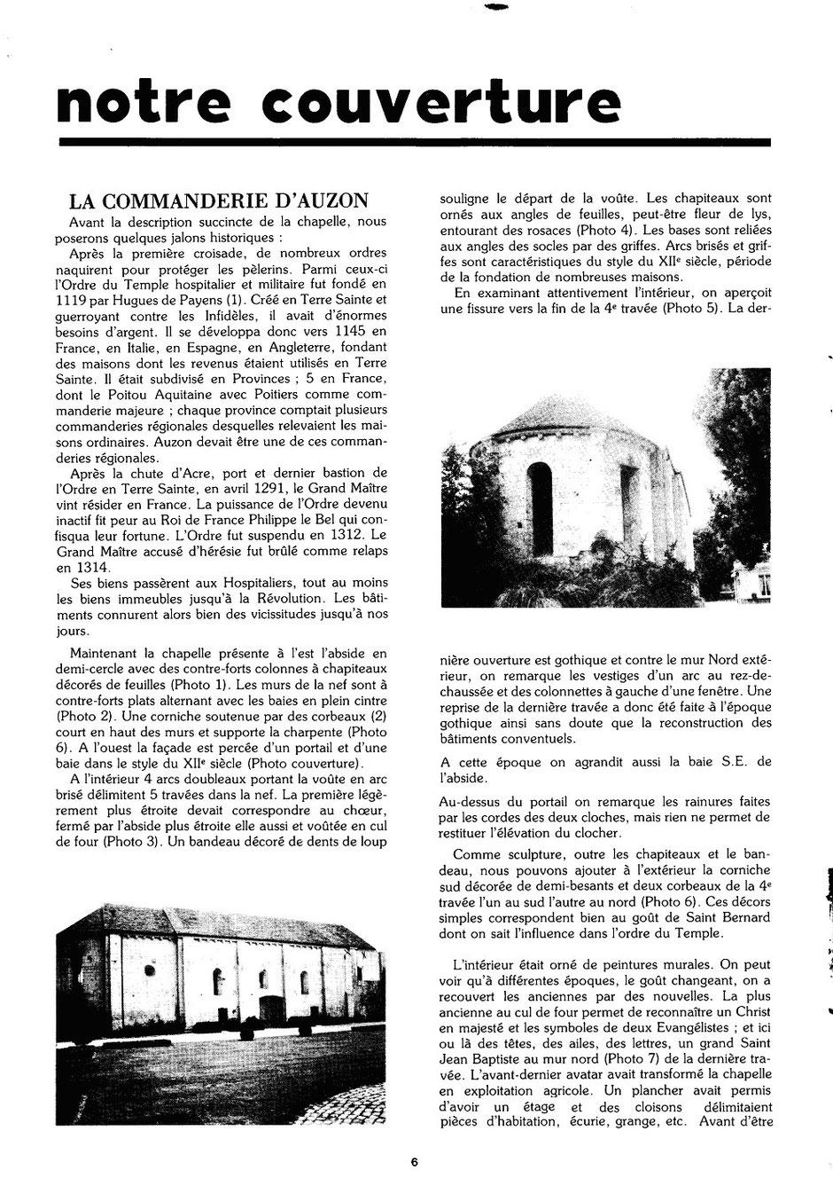 Le Glaneur Châtelleraudais – n° 52 – La commanderie d'Auzon - 1978 p.6