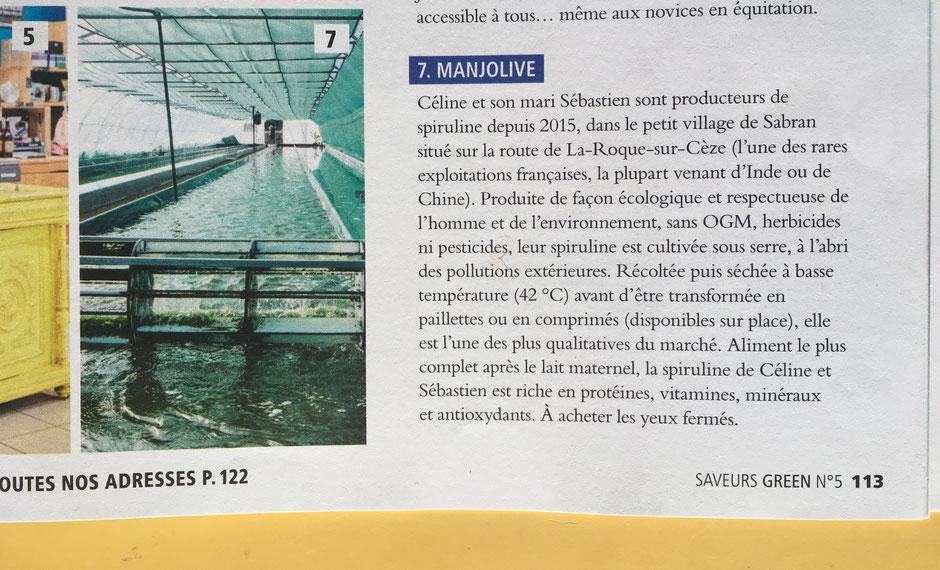 Spiruline de Manjolive dans Saveurs Green Avignon