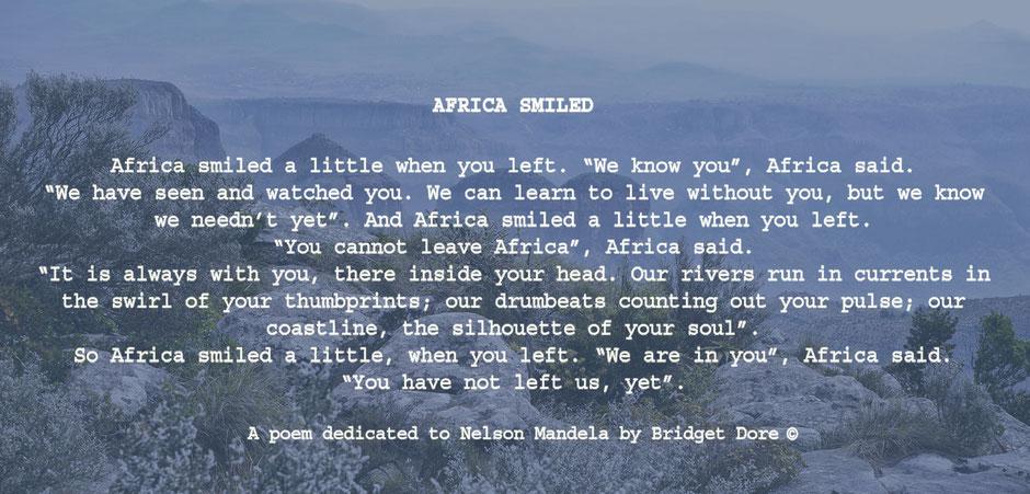 Gedicht opgedragen aan Nelson Mandela door Bridget Dore