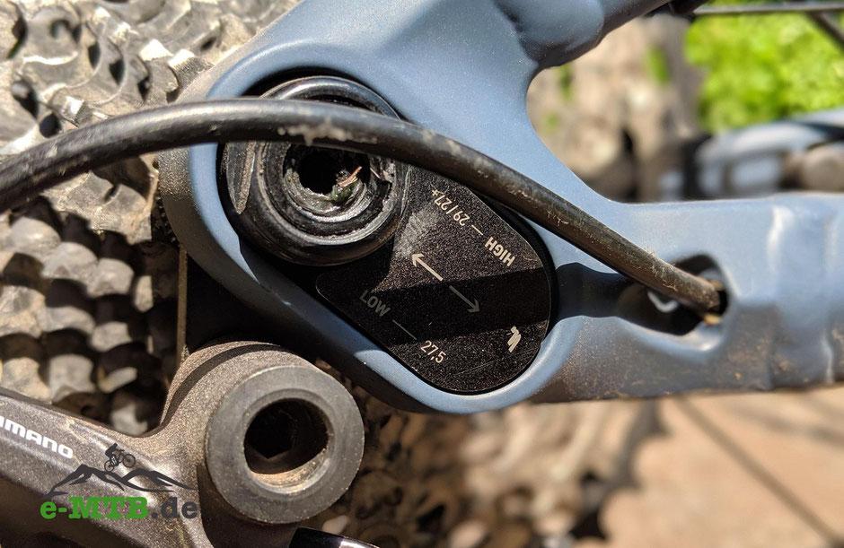 Der FlipChip erlaubt die Anpassung von Radstand und Bodenfreiheit bei Veränderung der Laufradgröße.
