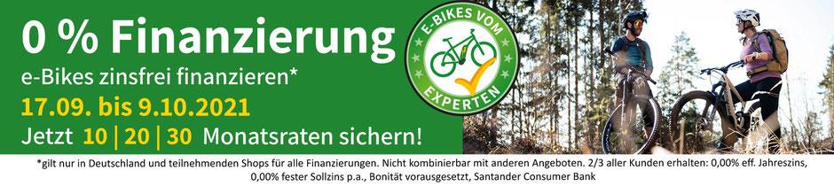 Banner zur 0 % Finanzierung für e-Mountainbikes