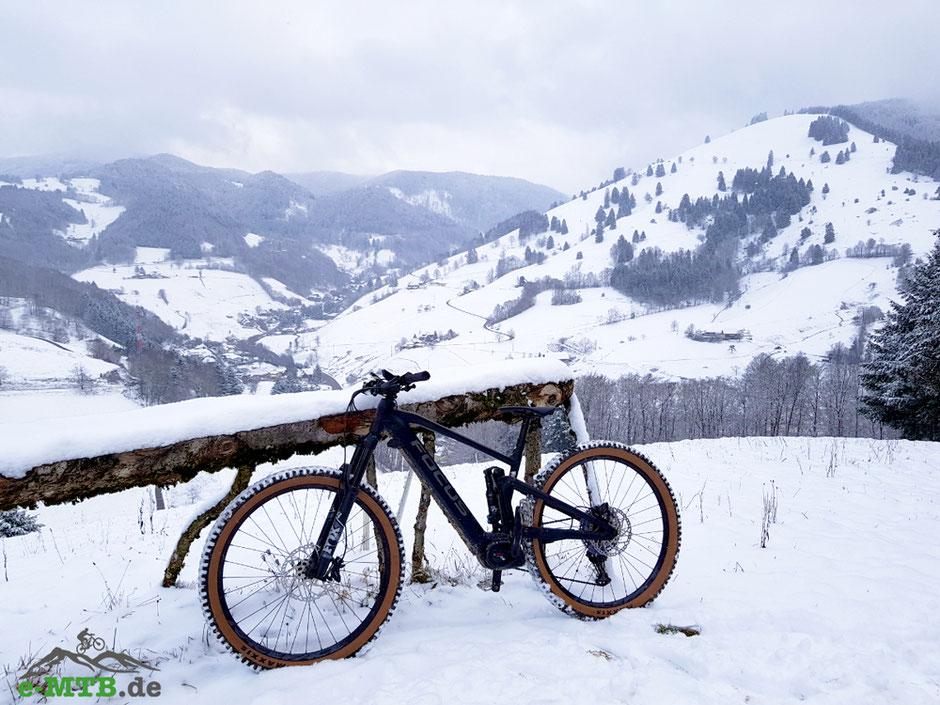 Das Focus Jam² vor Bergen in einer Schneelandschaft