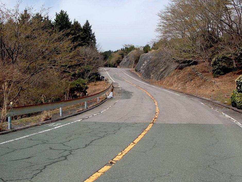 新緑の季節が待ち遠しい本宮山スカイライン。路面はけっこう荒れている