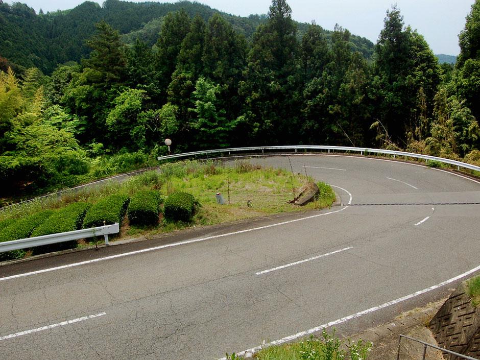 八百津町の山の中に続く急な登りのヘアピンカーブ。いまの時期、緑が鮮やか