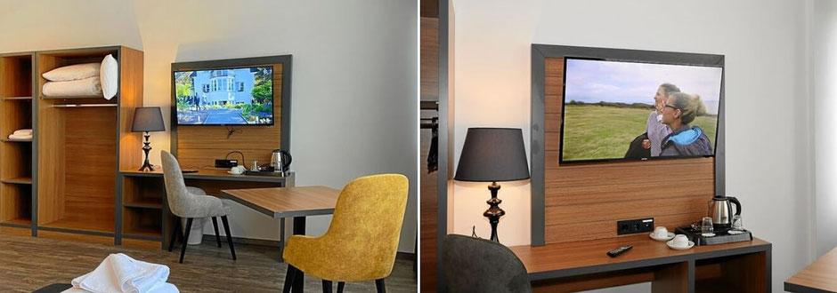 Hotelzimmer mit TV und WLAN-Internet