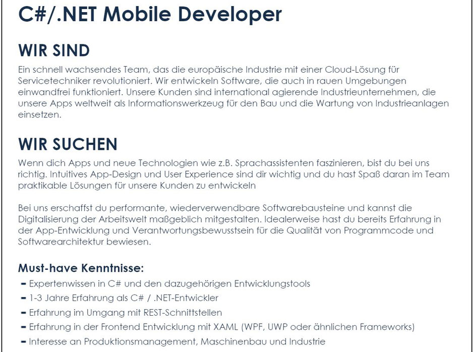 Software Developer Jobs - C#/.NET Mobile Developer - Tablet Solutions - Wien - 1-1
