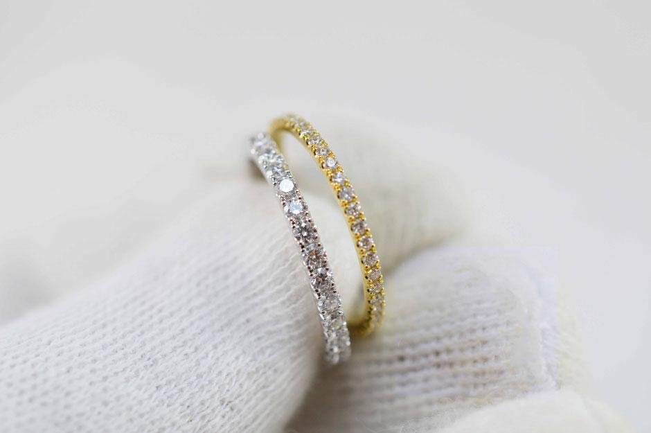 2 bagues femme en or jaune et or blanc et diamants