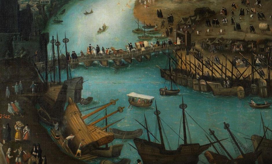 """Puente de Barcas. Detalle del cuadro """"Vista de la Ciudad de Sevilla"""", s.XVI"""