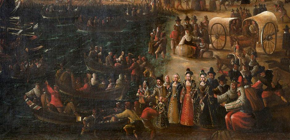 Pintura que representa uno de los momentos más dramáticos de la Historia de España: la injusta expulsión de los moriscos.