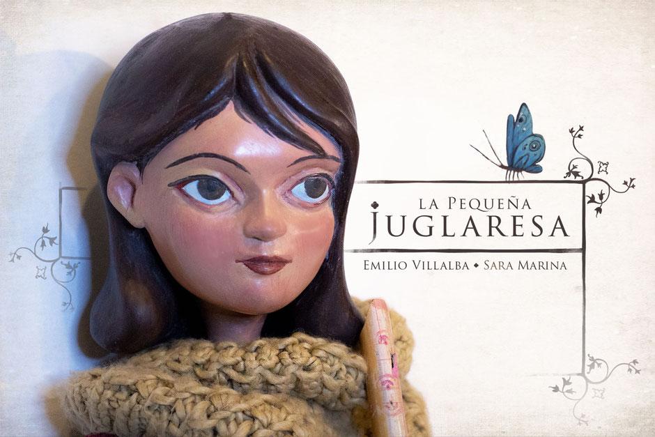 La Pequeña Juglaresa. Marioneta protagonista en la representación en concierto de este espectáculo. Realizada en madera por MVarte.