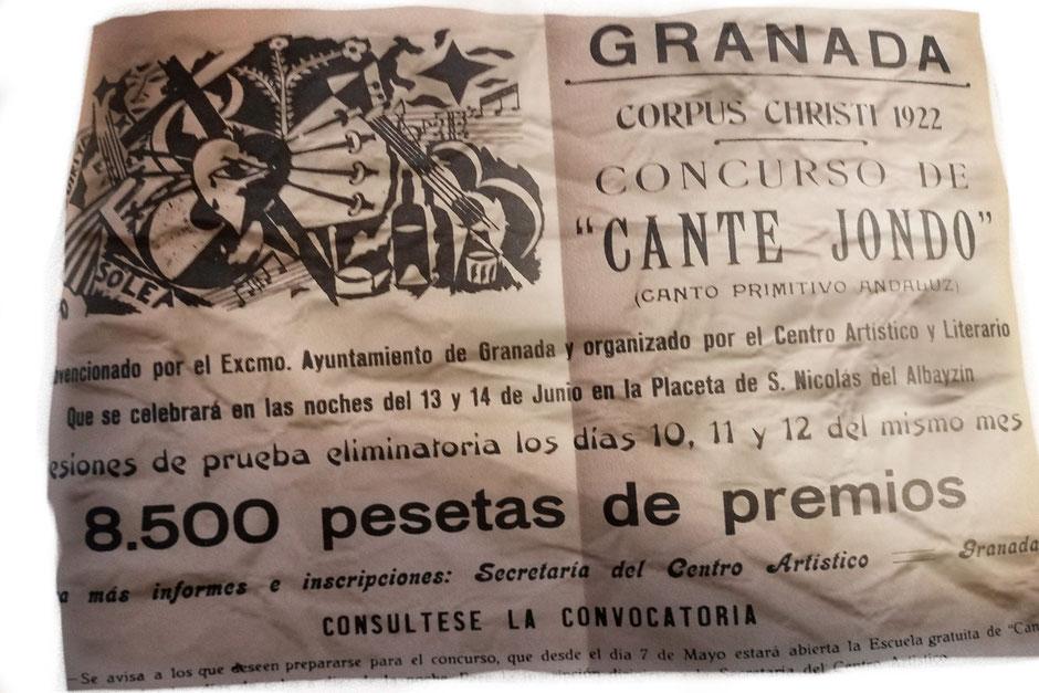 Panfleto anunciando el concurso de Cante Jondo de Granada. 1922