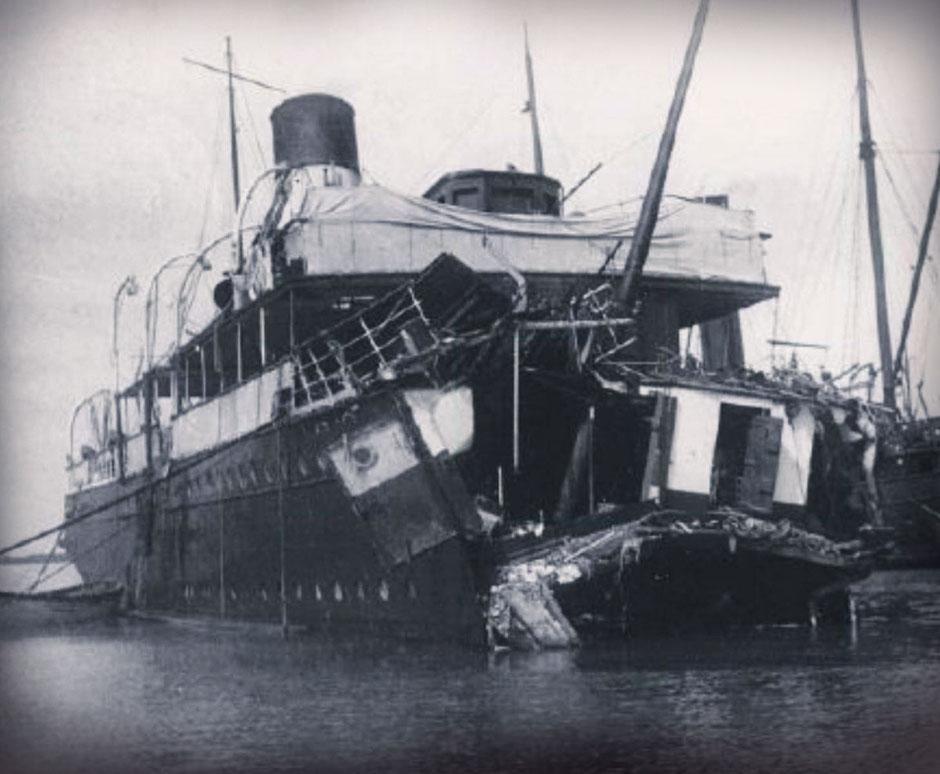 Restos del barco Sussex, donde viajaba Enrique Granados