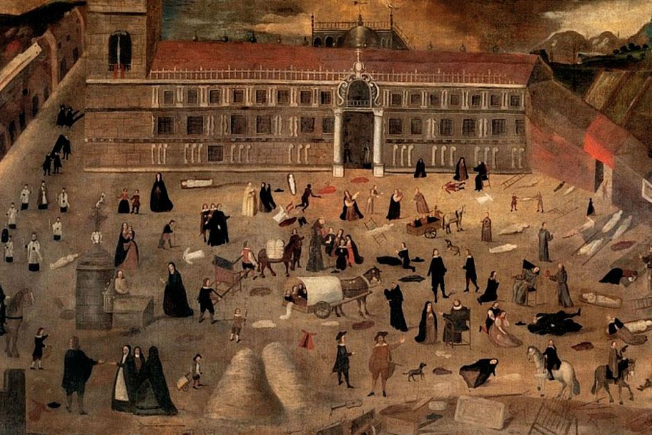 Pintura mostrando la epidemia de peste que sufrió Sevilla en el siglo XVII en la cual murió Ana Caro, la Dezima Mvsa.