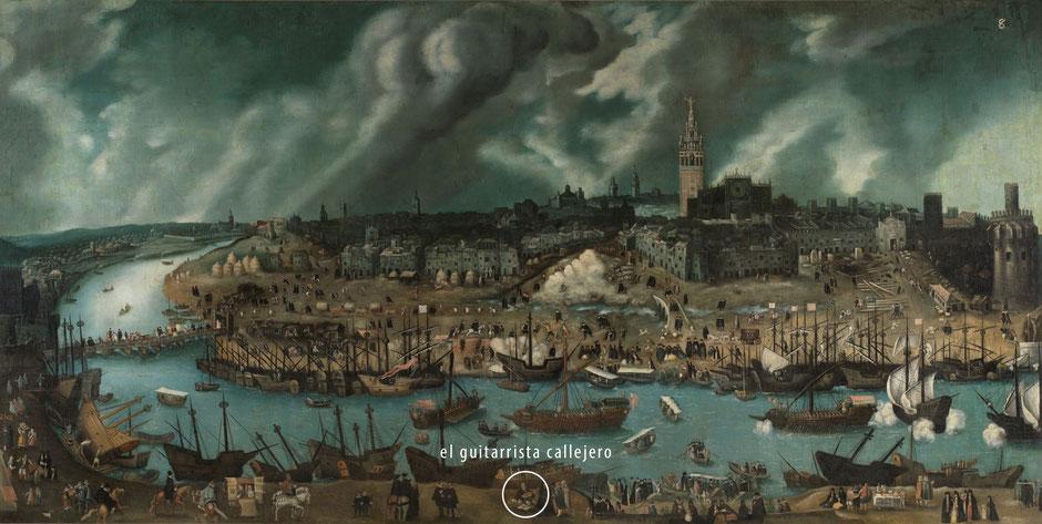 """Cuadro de finales del siglo XVI titulado """"Vista de la Ciudad de Sevilla"""", en el Museo del Prado. En un círculo, el personaje que inspira esta historia."""