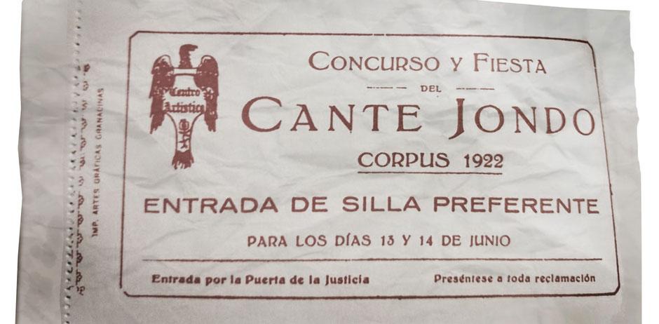 Entrada original de espectador para el concurso de Cante Jondo. Granada. 1922.