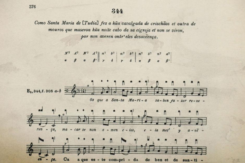 Detalle de la Cantiga 344, en su transcripción por el musicólogo Iginio Anglés.