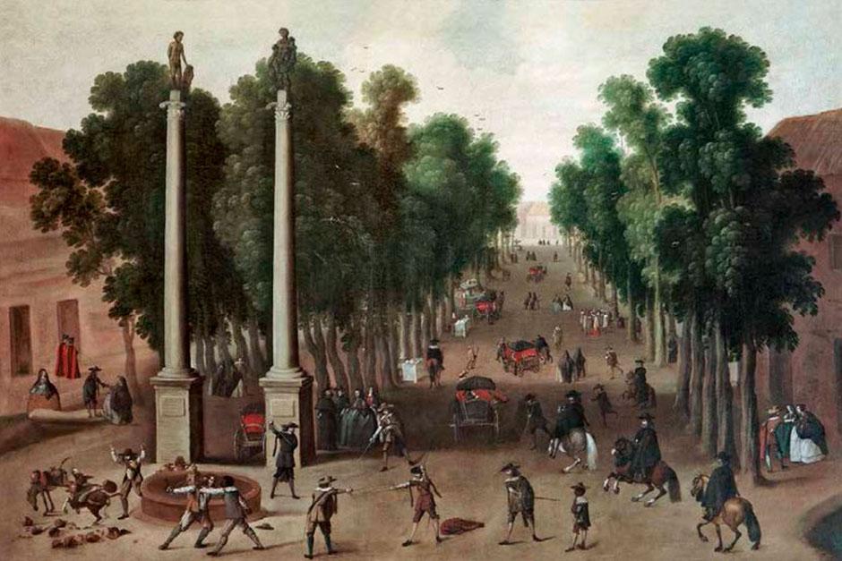 La Alameda de Hércules de Sevilla, en una pintura del siglo XVII.