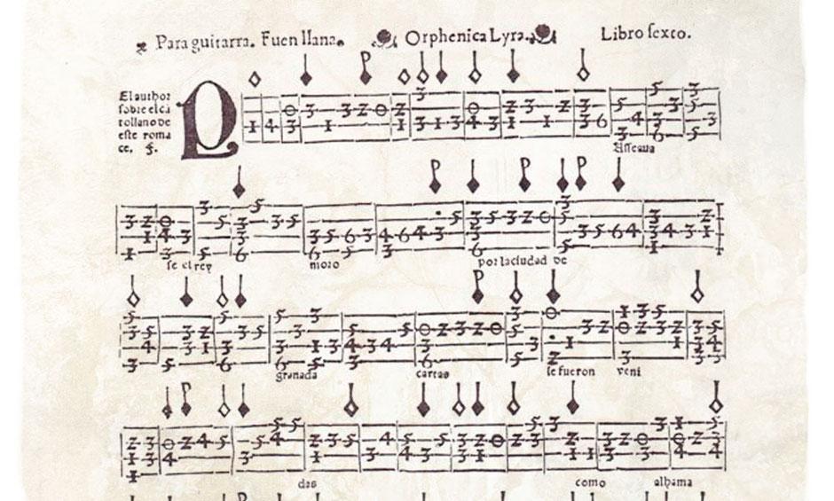 """Cifrado para guitarra de cuatro órdenes por Miguel de Fuenllana, libro Orphenica Lyra. Pieza anónima popular """"Paseábase el Rey moro""""."""