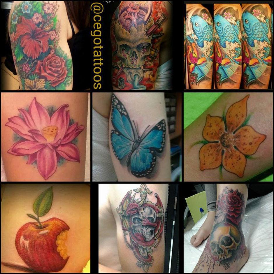 Cego Tattoos Studio in Portimão,Algarve,Portugal mit Bunten Tattoos am Rücken oder Brust,Arm oder Bein.