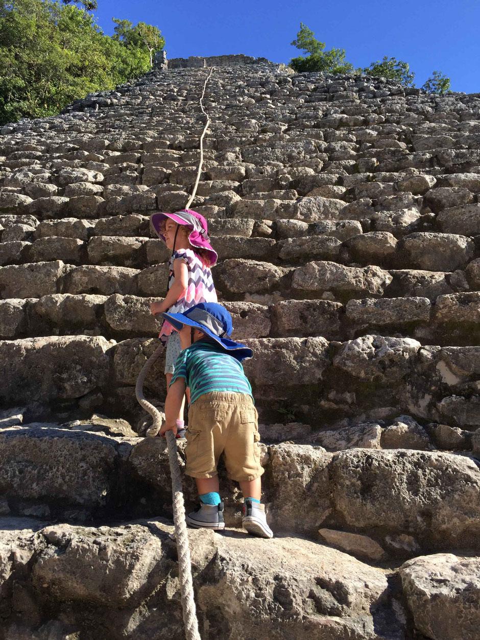 Climbing Coba Ruins With Small Children Mexico