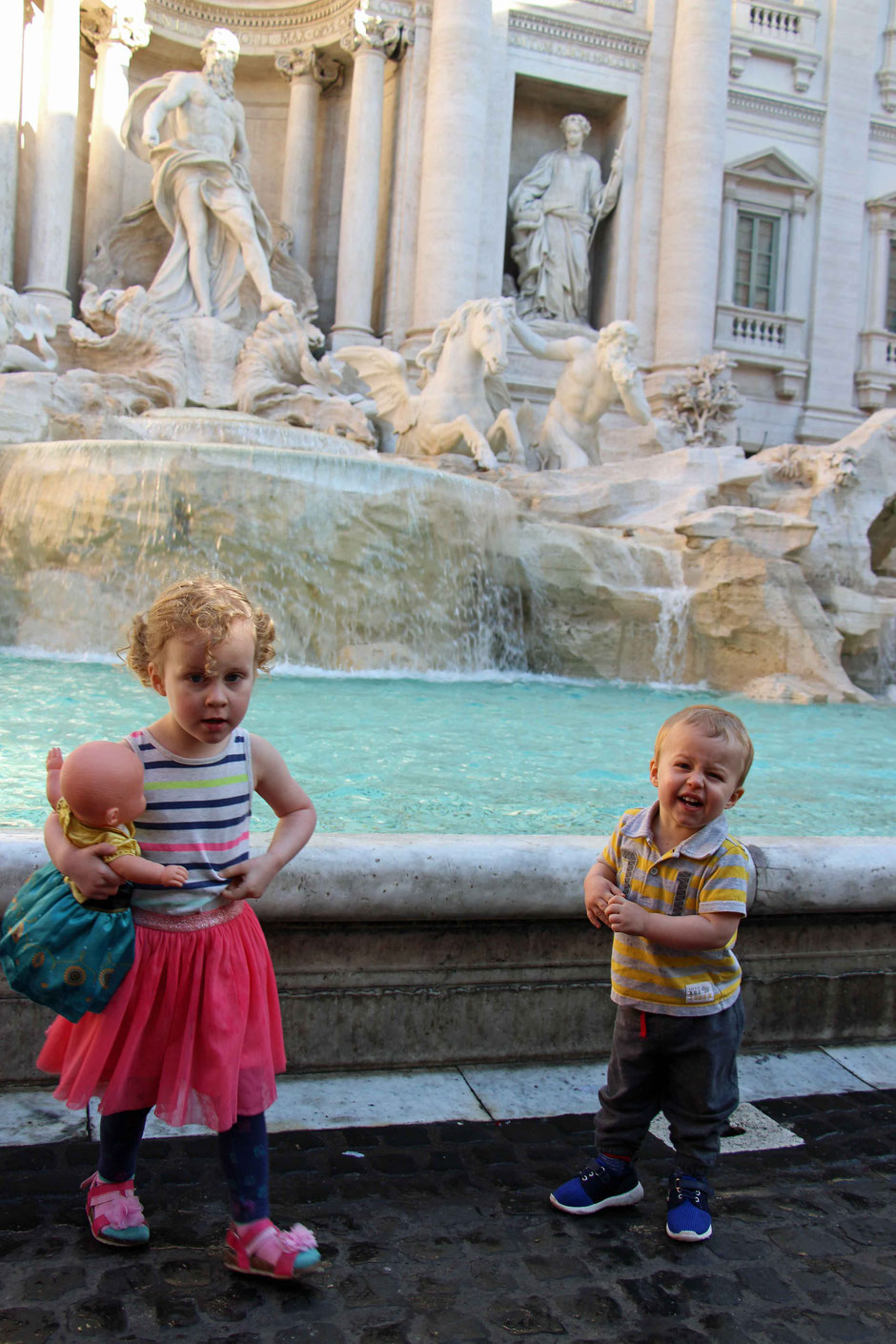 Trevi Fountain Rome Italy With Children