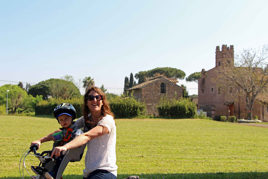 Appian Way Rome biking with a baby or toddler