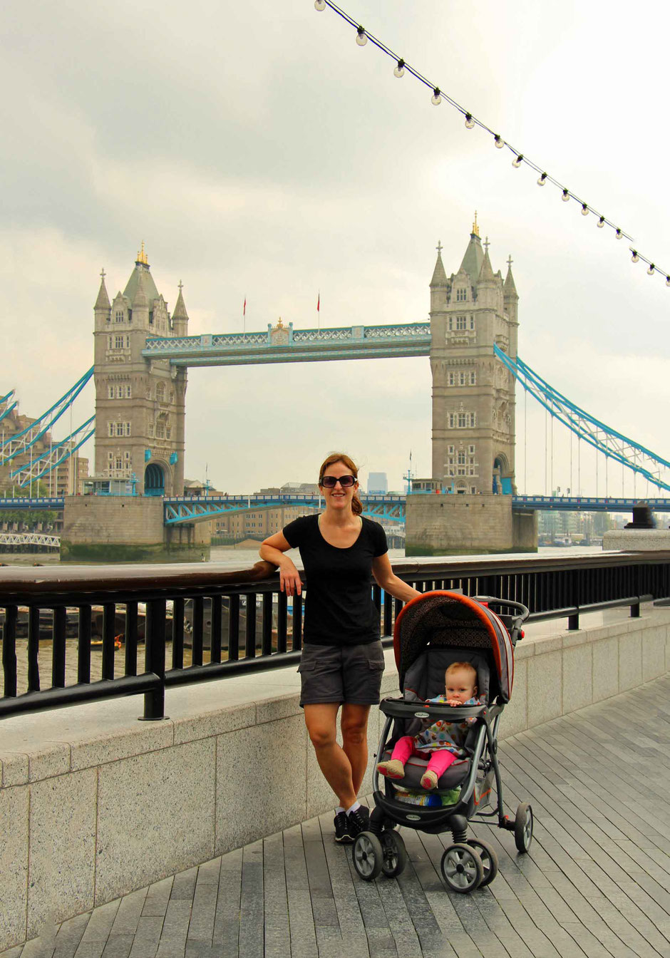 Why Europe is Amazing for Babies and Toddlers - It's easy to walk everywhere - Tower Bridge, London