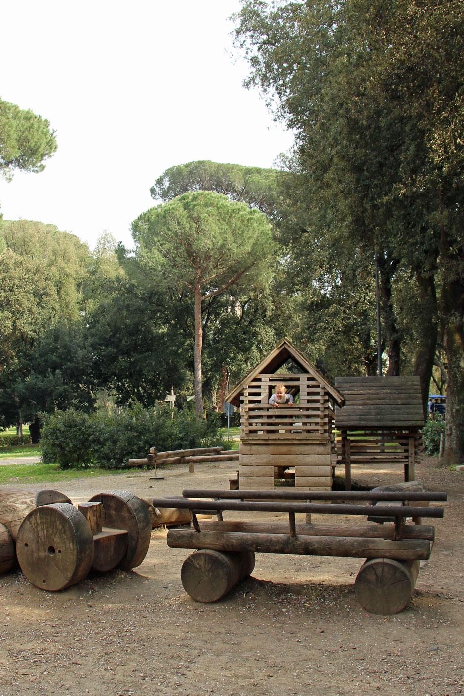 Villa Borghese Gardens Rome with children playground