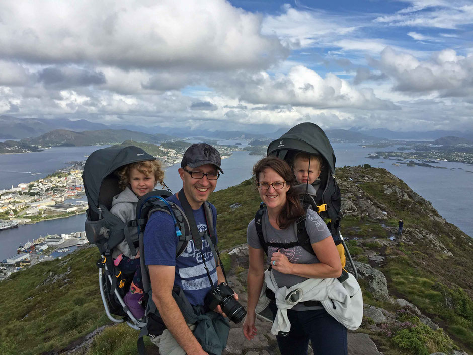 Hiking in Alesund Norway with toddlers