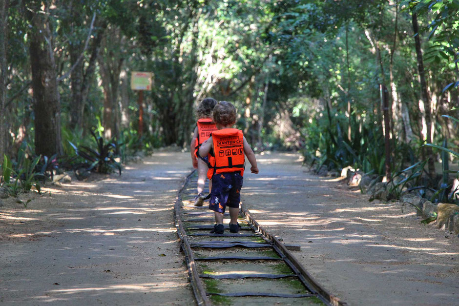 Kantun-chi ecopark in Mexico with a toddler