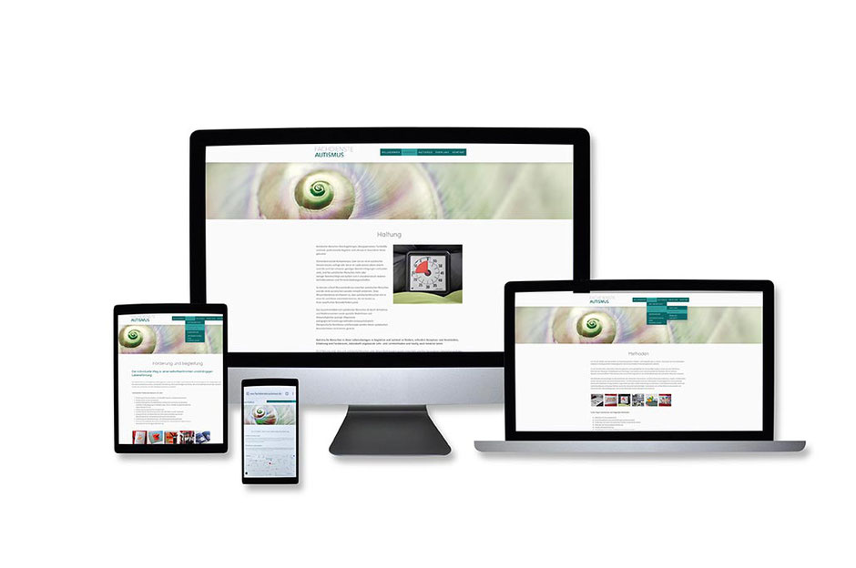 """Webdesign Referenz mit Responsive Webdesign Abbildungen für """"Fachdienste Autismus"""" von Funkenflug Design Münster."""