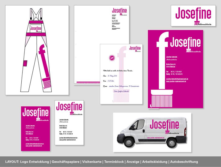 Corporate Design mit Logoentwicklung, Visitenkarte, Briefpapier und Beschriftung. Konzeption von Funkenflug Design Münster.