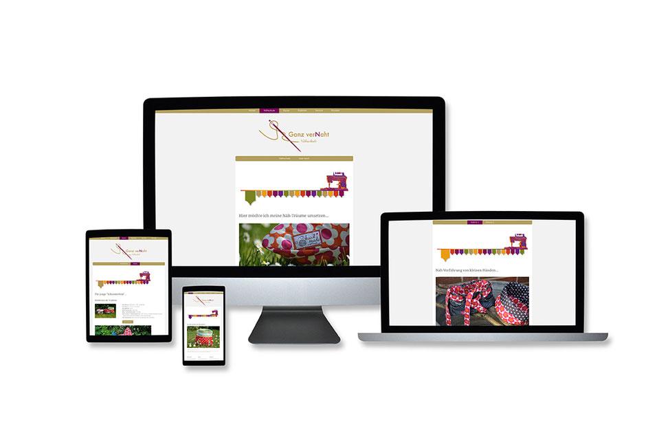 """Webdesign Referenz mit Responsive Webdesign Abbildungen für """"Nähschule Ganz verNaht"""" von Funkenflug Design Münster."""