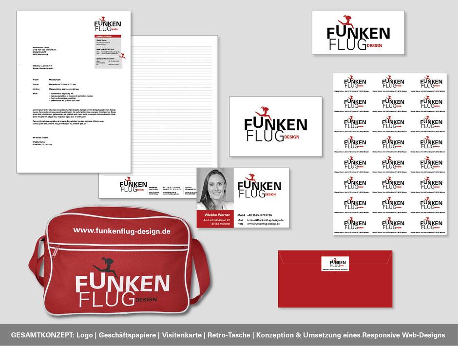 Corporate Design mit Logoentwicklung, Visitenkarte, Briefpapier und Retrotasche. Konzeption von Funkenflug Design Münster.