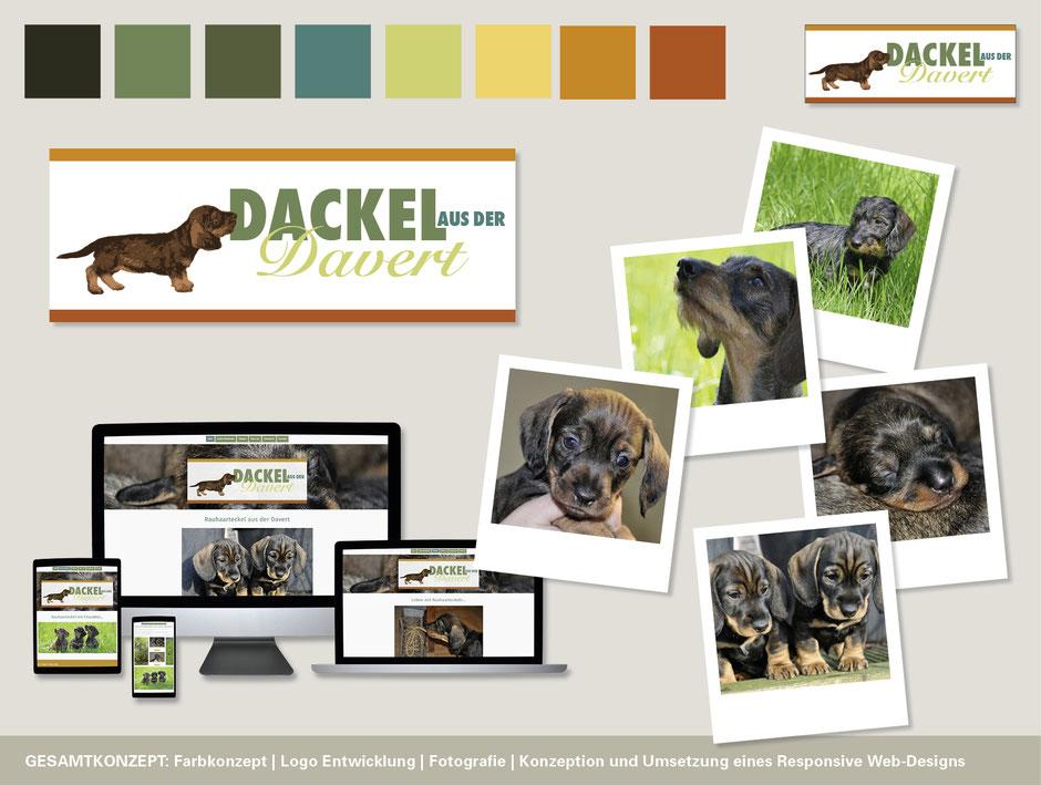 """Corporate Design mit Logoentwicklung, Fotografie und Webseiten für die """"Davert Dackel"""". Konzeption von Funkenflug Design Münster."""
