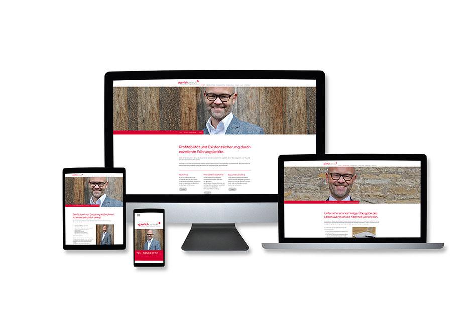 """Webdesign Referenz mit Responsive Webdesign Abbildungen für """"Frank Goerlich"""" von Funkenflug Design Münster."""