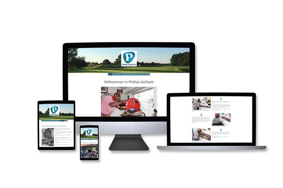 """Webdesign Referenz mit Responsive Webdesign Abbildungen für """"Phillips Golfworks"""" von Funkenflug Design Münster."""