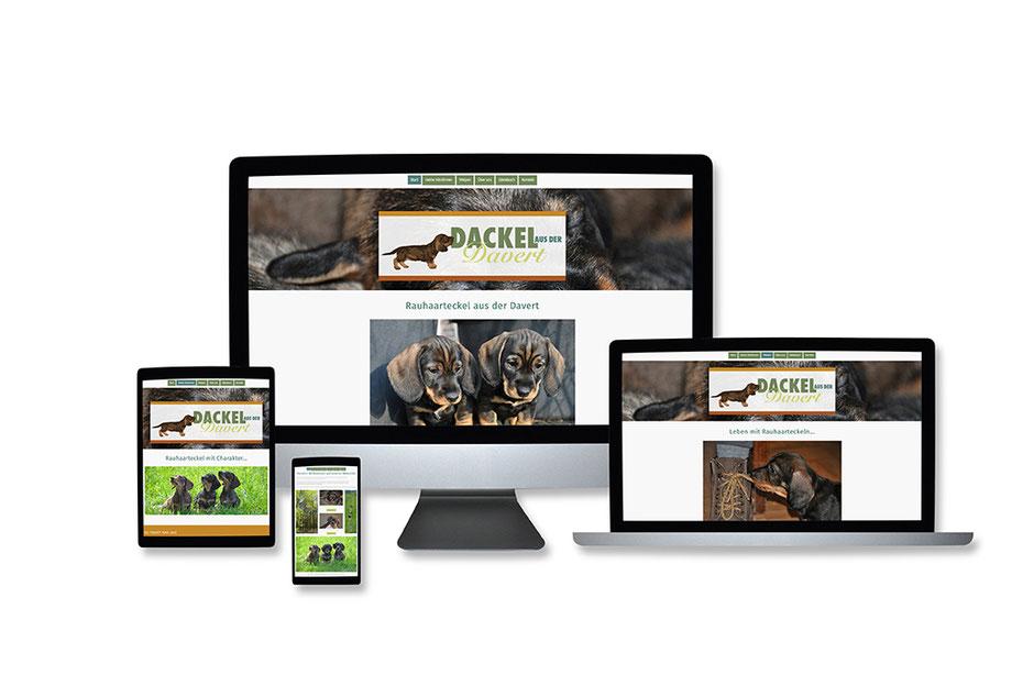"""Webdesign Referenz mit Responsive Webdesign Abbildungen für """"Davert Dackel"""" von Funkenflug Design Münster."""