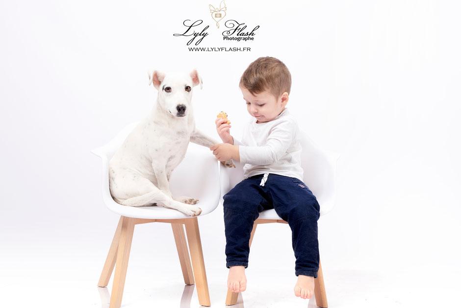photographe animalier , information le chien est bon pour le systeme respiratoire de bébé