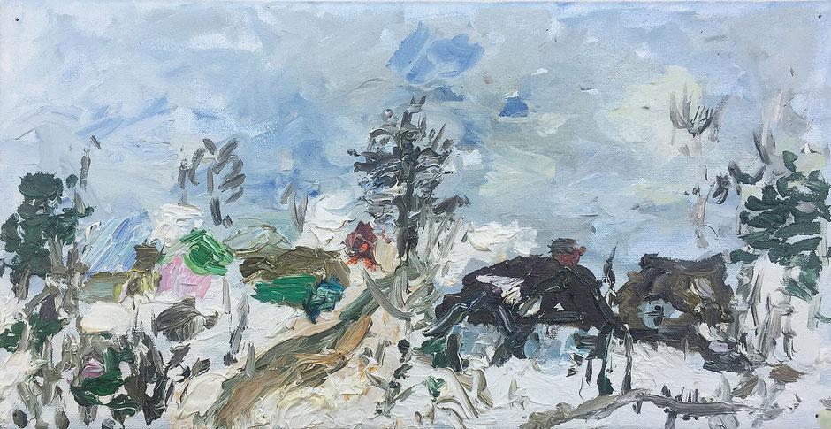 "Martina Pape, ""Bubonice-Russland"", 2015, Öl auf Leinwand, 20 x 40 cm"