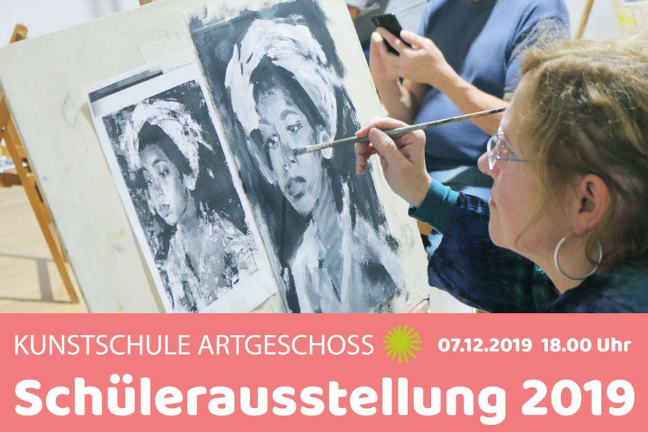 Schülerausstellung in der Kunstschule Artgeschoss