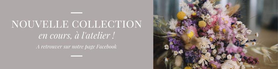 La nouvelle collection de bouquets de fleurs séchées pour le mariage et la décoration est en cours de confection à l'atelier chez La cinquième Saison - artisan créatrice spécialisée.