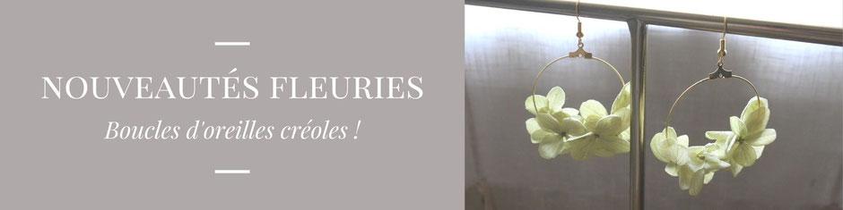 Nouveauté : boucles d'oreilles créoles en fleurs naturelles, pour le mariage et les jolis moments. Création de La cinquième saison : artisan créatrice spécialisée en fleurs séchées et stabilisées.