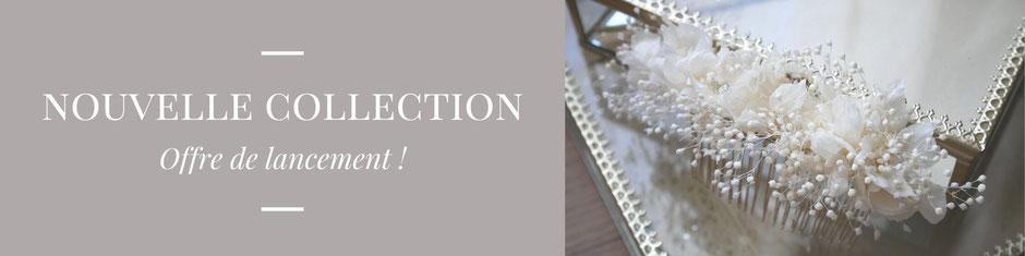 Offre de lancement ! Peigne de cheveux pour la mariée en hrotensia et gypsophile stabilisés au prix de 59 euros : création faite main par La cinquième saison.