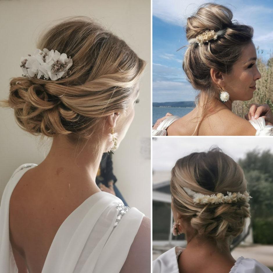 Accessoires de cheveux en fleurs séchées et stabilisées pour la mariée par la cinquième saison. Coiffure de mariage par Manresa Nancy.