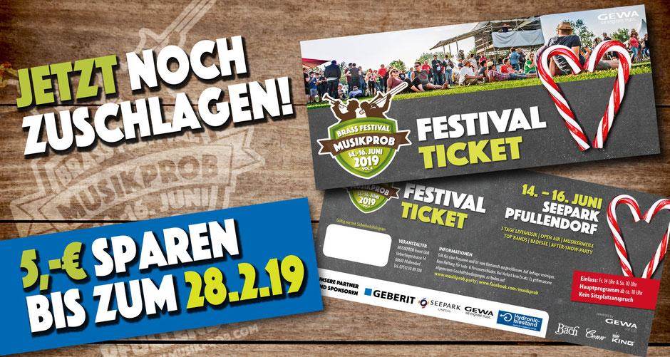Sparen am Musikprob Festival Ticket 2019